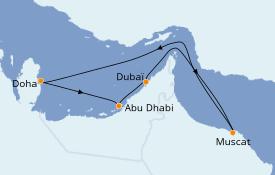 Itinéraire de la croisière Dubaï - Emirats 8 jours à bord du Costa Diadema