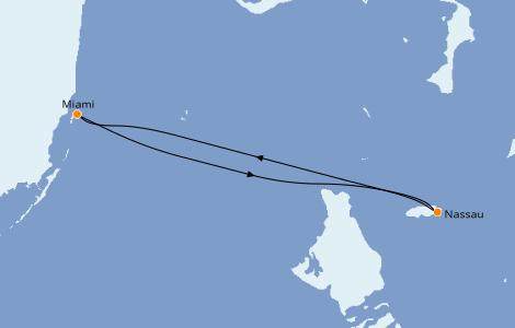 Itinéraire de la croisière Caraïbes de l'Est 2 jours à bord du Carnival Sunrise