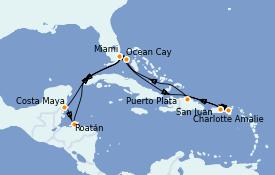 Itinéraire de la croisière Caraïbes de l'Est 13 jours à bord du MSC Seashore