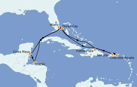 Itinéraire de la croisière Caraïbes de l'Est 12 jours à bord du MSC Seashore