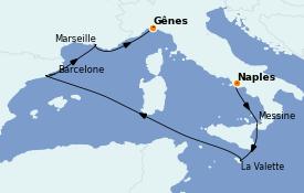 Itinéraire de la croisière Méditerranée 7 jours à bord du MSC World Europa