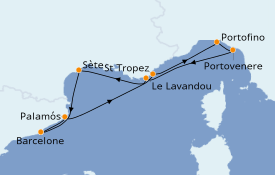 Itinéraire de la croisière Méditerranée 8 jours à bord du Seabourn Ovation