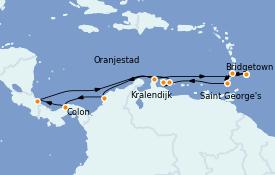 Itinéraire de la croisière Caraïbes de l'Est 15 jours à bord du Grandeur of the Seas