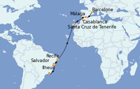 Itinéraire de la croisière Amérique du Sud 16 jours à bord du Costa Fascinosa
