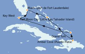 Itinéraire de la croisière Caraïbes de l'Est 8 jours à bord du ms Nieuw Amsterdam