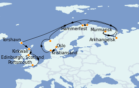 Itinéraire de la croisière Fjords & Norvège 19 jours à bord du MS Sirena