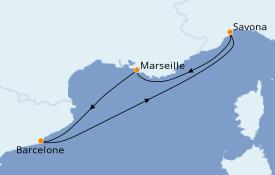 Itinéraire de la croisière Méditerranée 5 jours à bord du Costa Fortuna