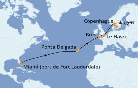 Itinéraire de la croisière Atlanique 15 jours à bord du Sky Princess
