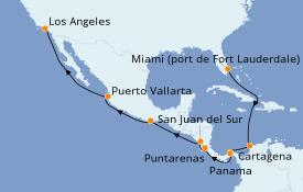 Itinéraire de la croisière Riviera Mexicaine 16 jours à bord du Coral Princess