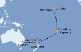 Itinéraire de la croisière Australie 2020 19 jours à bord du Celebrity Solstice