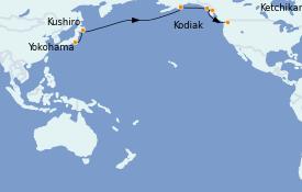 Itinéraire de la croisière Alaska 15 jours à bord du ms Westerdam