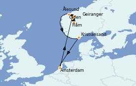 Itinéraire de la croisière Fjords & Norvège 10 jours à bord du Jewel of the Seas