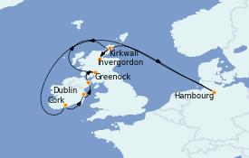 Itinéraire de la croisière Îles Britanniques 11 jours à bord du MSC Orchestra