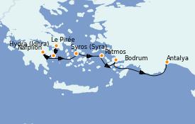 Itinéraire de la croisière Grèce & Adriatique 8 jours à bord du Le Jacques Cartier
