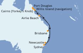 Itinéraire de la croisière Australie 2022 12 jours à bord du Celebrity Eclipse