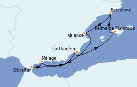 Itinéraire de la croisière Méditerranée 8 jours à bord du ms Nieuw Statendam