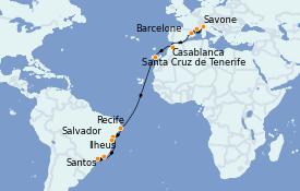Itinéraire de la croisière Transatlantiques et Grands Voyages 2022 18 jours à bord du Costa Fortuna