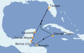 Itinéraire de la croisière Caraïbes de l'Ouest 9 jours à bord du Carnival Pride