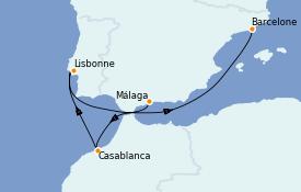 Itinéraire de la croisière Méditerranée 6 jours à bord du MSC Virtuosa