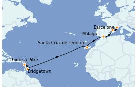 Itinéraire de la croisière Transatlantiques et Grands Voyages 2022 14 jours à bord du MSC Seaview