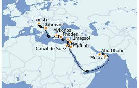 Itinéraire de la croisière Transatlantiques et Grands Voyages 2022 20 jours à bord du MSC Opera