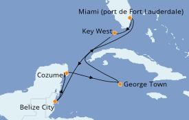 Itinéraire de la croisière Caraïbes de l'Ouest 8 jours à bord du Celebrity Apex