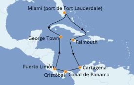 Itinéraire de la croisière Caraïbes de l'Ouest 11 jours à bord du Island Princess