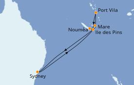 Itinéraire de la croisière Australie 2019 10 jours à bord du Radiance of the Seas