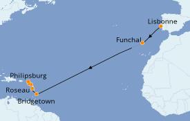 Itinéraire de la croisière Caraïbes de l'Est 15 jours à bord du Seabourn Odyssey