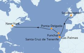 Itinéraire de la croisière Îles Canaries 15 jours à bord du Carnival Mardi Gras