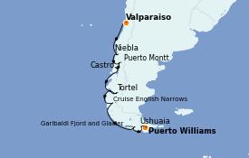 Itinéraire de la croisière Amérique du Sud 13 jours à bord du Silver Wind