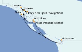 Itinéraire de la croisière Alaska 8 jours à bord du Serenade of the Seas