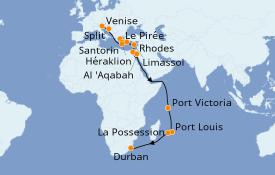 Itinéraire de la croisière Transatlantiques et Grands Voyages 2020 30 jours à bord du MSC Opera