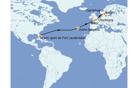 Itinéraire de la croisière Mer Baltique 14 jours à bord du Enchanted Princess