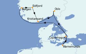 Itinéraire de la croisière Fjords & Norvège 8 jours à bord du MSC Poesia
