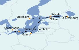 Itinéraire de la croisière Mer Baltique 11 jours à bord du MS Sirena