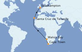 Itinéraire de la croisière Afrique 16 jours à bord du Queen Victoria