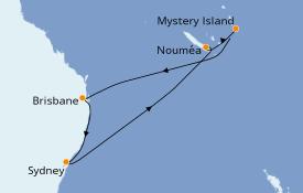 Itinéraire de la croisière Australie 2020 10 jours à bord du Ovation of the Seas
