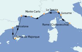 Itinerario de crucero Mediterráneo 9 días a bordo del Seven Seas Explorer