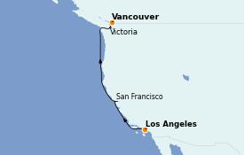 Itinéraire de la croisière Californie 6 jours à bord du Discovery Princess