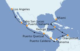 Itinéraire de la croisière Riviera Mexicaine 17 jours à bord du Norwegian Bliss