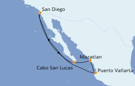 Itinéraire de la croisière Riviera Mexicaine 8 jours à bord du ms Koningsdam