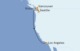 Itinéraire de la croisière Transatlantiques et Grands Voyages 2021 6 jours à bord du Norwegian Encore