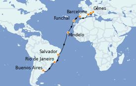 Itinerario de crucero Vuelta al mundo 2022 22 días a bordo del MSC Poesia