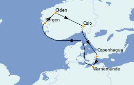 Itinéraire de la croisière Mer Baltique 8 jours à bord du MSC Musica