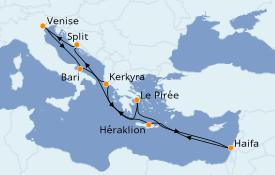 Itinéraire de la croisière Grèce & Adriatique 12 jours à bord du Costa Victoria