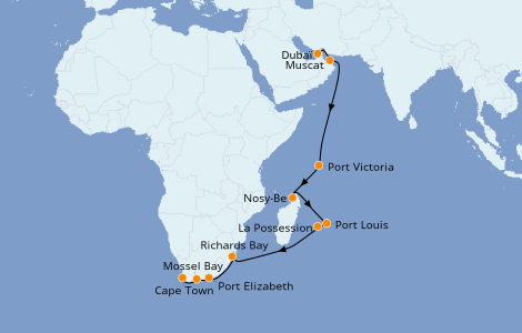 Itinéraire de la croisière Afrique 18 jours à bord du Norwegian Jade