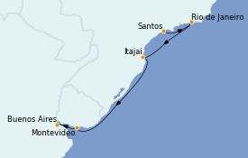 Itinéraire de la croisière Amérique du Sud 6 jours à bord du Costa Favolosa