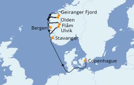 Itinéraire de la croisière Fjords & Norvège 8 jours à bord du Le Bellot