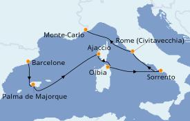 Itinéraire de la croisière Méditerranée 8 jours à bord du Seven Seas Splendor